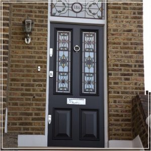 French Black Door with Patterned Glass